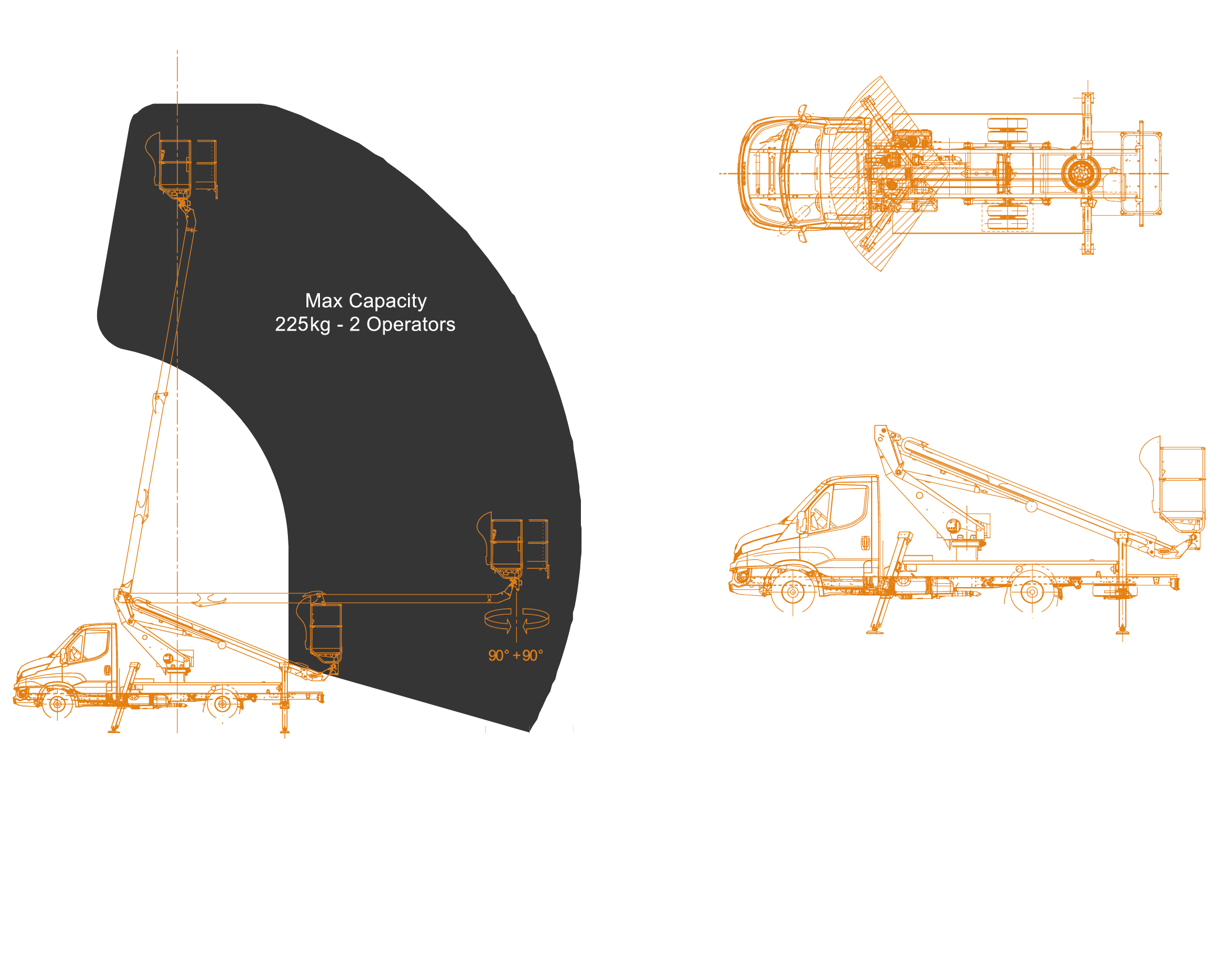 Scorpion-1490-IVECO-working-envelope and dimensions