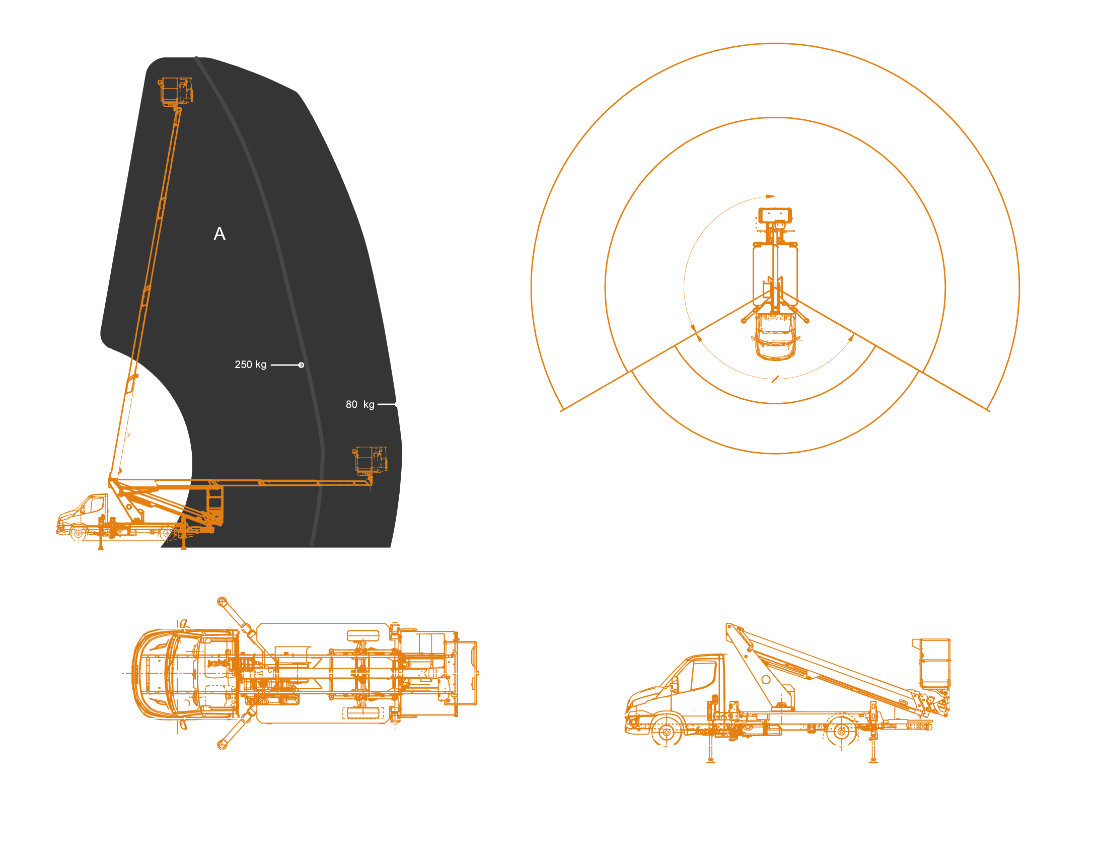 Scorpion-2313-IVECO-working-envelope and dimensions