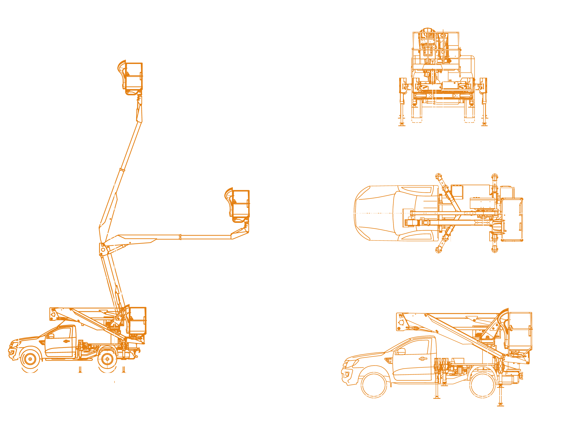 Snake 174 on Ford Ranger - working envelope and dimensions